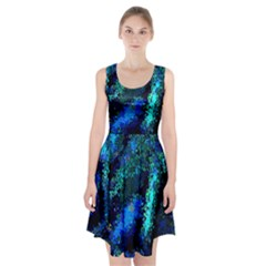 Underwater Abstract Seamless Pattern Of Blues And Elongated Shapes Racerback Midi Dress