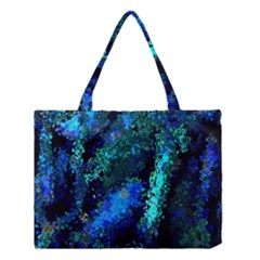 Underwater Abstract Seamless Pattern Of Blues And Elongated Shapes Medium Tote Bag