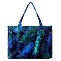 Underwater Abstract Seamless Pattern Of Blues And Elongated Shapes Medium Zipper Tote Bag