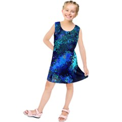 Underwater Abstract Seamless Pattern Of Blues And Elongated Shapes Kids  Tunic Dress