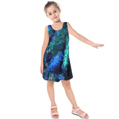 Underwater Abstract Seamless Pattern Of Blues And Elongated Shapes Kids  Sleeveless Dress