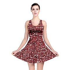 Red Box Background Pattern Reversible Skater Dress