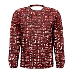 Red Box Background Pattern Men s Long Sleeve Tee