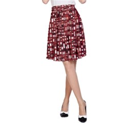 Red Box Background Pattern A Line Skirt