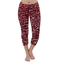 Red Box Background Pattern Capri Winter Leggings