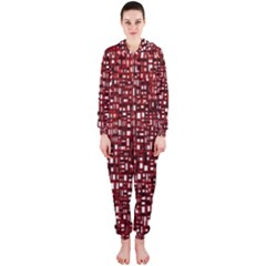 Red Box Background Pattern Hooded Jumpsuit (ladies)