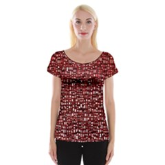 Red Box Background Pattern Women s Cap Sleeve Top