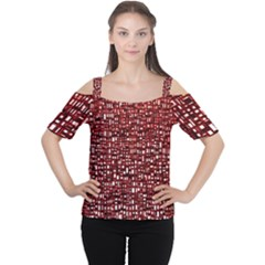 Red Box Background Pattern Women s Cutout Shoulder Tee