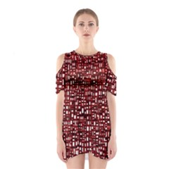 Red Box Background Pattern Shoulder Cutout One Piece