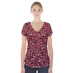 Red Box Background Pattern Short Sleeve Front Detail Top