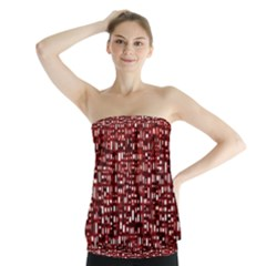 Red Box Background Pattern Strapless Top
