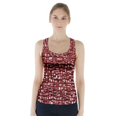 Red Box Background Pattern Racer Back Sports Top