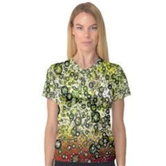 Chaos Background Other Abstract And Chaotic Patterns Women s V Neck Sport Mesh Tee