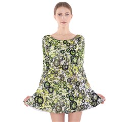 Chaos Background Other Abstract And Chaotic Patterns Long Sleeve Velvet Skater Dress