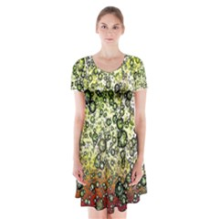 Chaos Background Other Abstract And Chaotic Patterns Short Sleeve V Neck Flare Dress