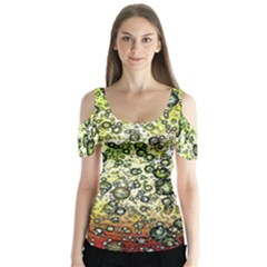 Chaos Background Other Abstract And Chaotic Patterns Butterfly Sleeve Cutout Tee