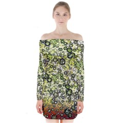 Chaos Background Other Abstract And Chaotic Patterns Long Sleeve Off Shoulder Dress