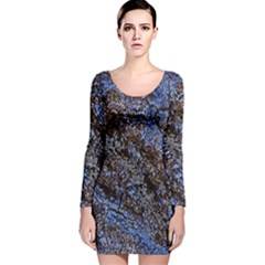 Cracked Mud And Sand Abstract Long Sleeve Velvet Bodycon Dress