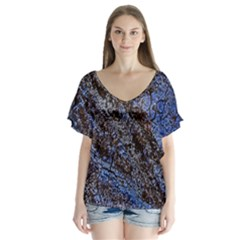 Cracked Mud And Sand Abstract Flutter Sleeve Top
