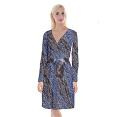 Cracked Mud And Sand Abstract Long Sleeve Velvet Front Wrap Dress