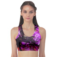 Pink Abstract Tree Sports Bra