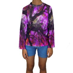 Pink Abstract Tree Kids  Long Sleeve Swimwear