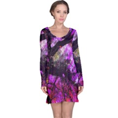 Pink Abstract Tree Long Sleeve Nightdress
