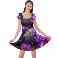 Pink Abstract Tree Cap Sleeve Dresses