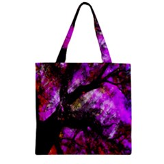 Pink Abstract Tree Zipper Grocery Tote Bag