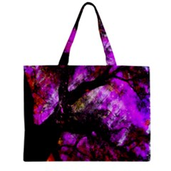 Pink Abstract Tree Zipper Mini Tote Bag