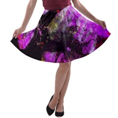 Pink Abstract Tree A-line Skater Skirt