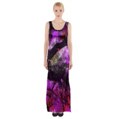Pink Abstract Tree Maxi Thigh Split Dress