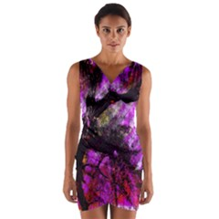 Pink Abstract Tree Wrap Front Bodycon Dress
