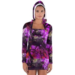 Pink Abstract Tree Women s Long Sleeve Hooded T-shirt