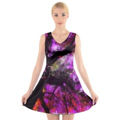 Pink Abstract Tree V Neck Sleeveless Skater Dress