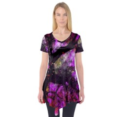 Pink Abstract Tree Short Sleeve Tunic