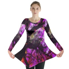 Pink Abstract Tree Long Sleeve Tunic