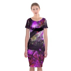 Pink Abstract Tree Classic Short Sleeve Midi Dress