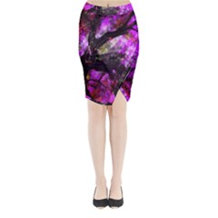Pink Abstract Tree Midi Wrap Pencil Skirt