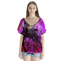 Pink Abstract Tree Flutter Sleeve Top