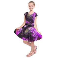 Pink Abstract Tree Kids  Short Sleeve Dress