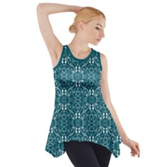 Teal With White Pagan Pentacles Wiccan Side Drop Tank Tunic