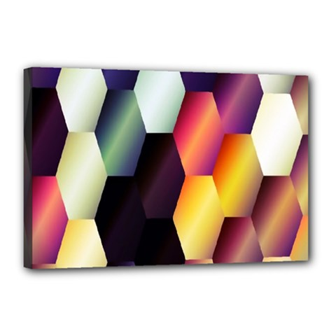 Colorful Hexagon Pattern Canvas 18  x 12