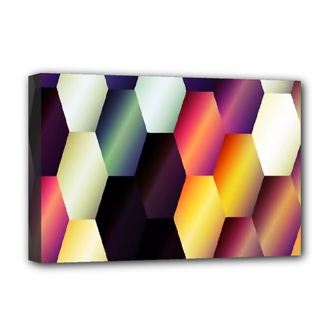 Colorful Hexagon Pattern Deluxe Canvas 18  X 12