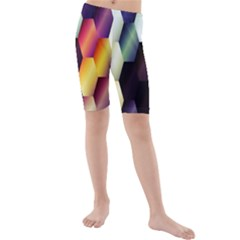 Colorful Hexagon Pattern Kids  Mid Length Swim Shorts