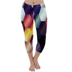 Colorful Hexagon Pattern Capri Winter Leggings