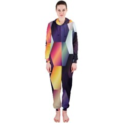 Colorful Hexagon Pattern Hooded Jumpsuit (ladies)