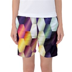 Colorful Hexagon Pattern Women s Basketball Shorts