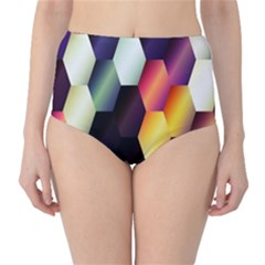 Colorful Hexagon Pattern High Waist Bikini Bottoms