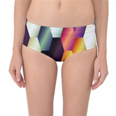 Colorful Hexagon Pattern Mid-Waist Bikini Bottoms